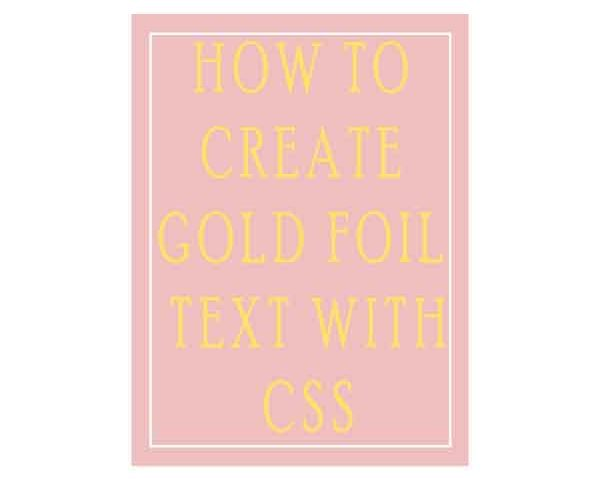how to create gold foil text with css
